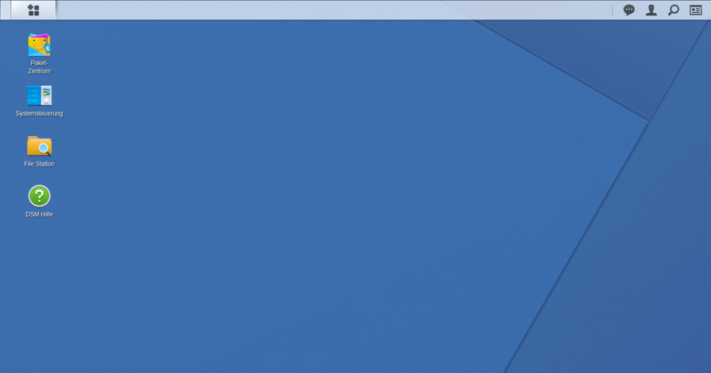Desktop von Synology DSM mit Icons für Paket-Zentrum, Systemsteuerung, File Station und DSM Hilfe